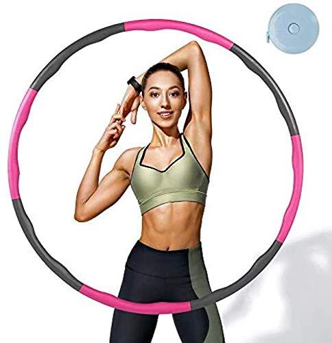 WUOOYOQ Hula Hoop 8 sección Aro Hula de Fitness extraíble para la reducción de Peso con Mini Cinta métrica para Adultos o niños, Fitness, Deporte, Masaje, Oficina