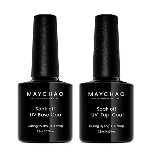 MAYCHAO Gel Base and Top Coat, Clear Long Lasting Gel Nail Polish Soak Off UV LED Gel No Wipe Top Coat and Base Coat