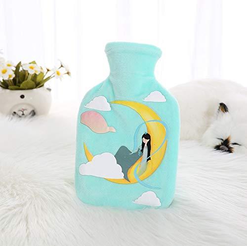 1 botella de agua caliente de 350 ml de color verde claro con diseño de hada y luna