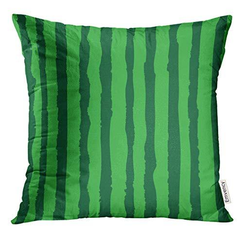 UPOOS Capa de almofada colorida fatia de melancia padrão realista comida de verão verde desenho animado colorido capa de almofada quadrada 50,8 x 50,8 cm