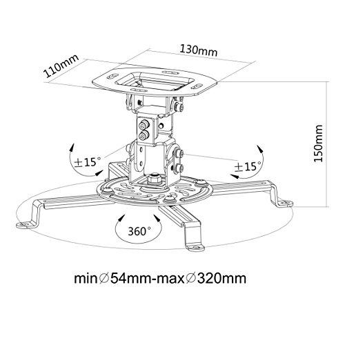 VIVO Universal Adjustable Ceiling Projector, Projection Mount Extending Arms, Black, MOUNT-VP01B Photo #7