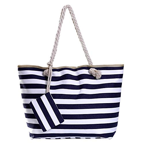 Grote waterafstotende strandtas met rits 58 x 38 x 18 cm gestreept donkerblauw wit shopper schoudertas