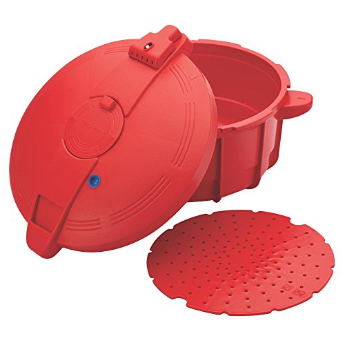 SilverStone 51388 Mikrowellen-Schnellkochtopf, BPA-frei, 3,4 Quart, Rot