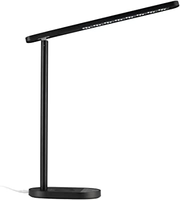 ZOUYee LED Desk Lamp, Anti-Glare Eye-Caring Office Lamp Architect Desk Lamp, Color & Brightness Dimmable, Flexible Rotation and Detachable Desk Lamp with Wireless Charger