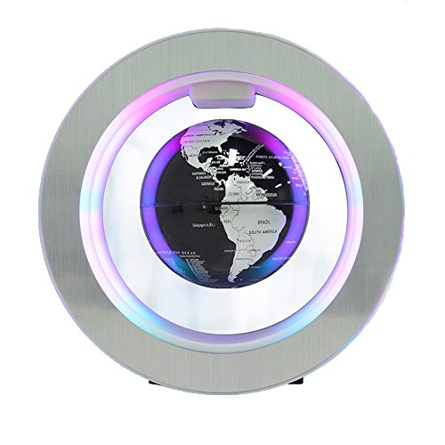 DjfLight Magneetzwevende bol, Levitation Roterende wereldkaart met ledlampen, magnetische zweefbol, voor decoratie op kantoor en thuis, geschenk van 4 inch