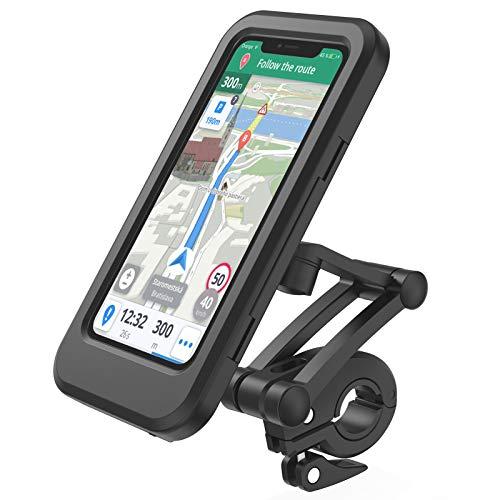 Lifelf Fahrrad Handyhalterung, wasserdichte Smartphone Halter mit Touch-Screen, 360° Drehbare, Höhenverstellbar für iPhone Samsung Galaxy Huawei zu 6,7 Zoll, kompatibel mit Fahrrad Motorrad, Schwarz