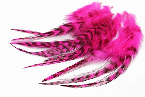 Tigofly 30 Stück/Charge UV Hot Pink Schwarz Barred Grizzly Hahn Hackles Streamer Fliegenbinden Hackle Federn Materialien