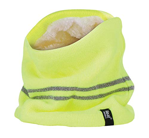 Heat Holders - Mens Hi Vis Reflective Winter Warm Thermal Fleece Lined Knitted High Visibility Neck Warmer (One Size, Hi Vis Yellow)
