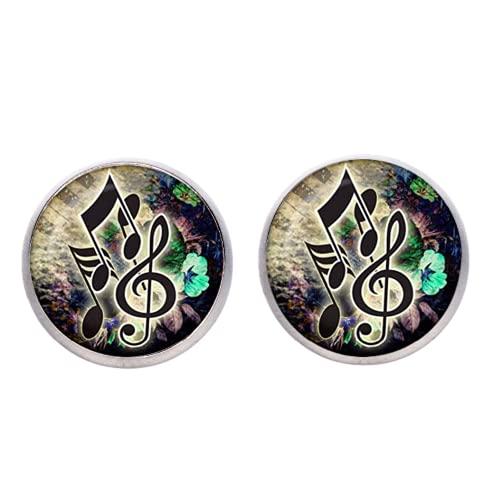Pendientes vintage con símbolo musical, de bronce, plateados, con nota musical y cabujón de cristal