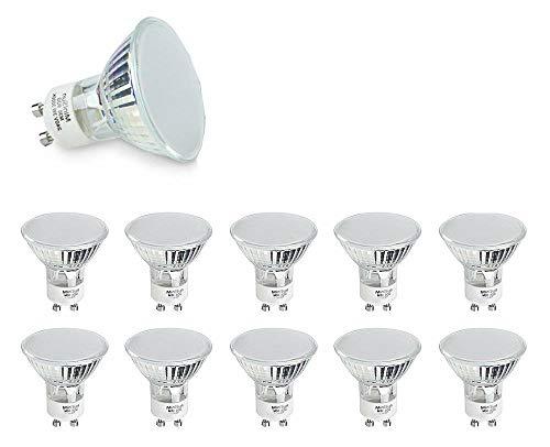 MiniSun - Pack di 10 lampadine LED GU10 potenti e durevoli, di vetro satinato, da 3w, a risparmio energetico - 3000k (bianco caldo)