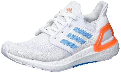 adidas mens Ultraboost 20 Primeblue Running Shoe, White/Sharp Blue/True Orange, 10.5 US