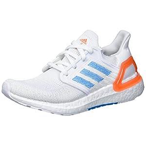 adidas Men's Ultraboost 20 Primeblue Running Shoe, White/Sharp Blue/True Orange