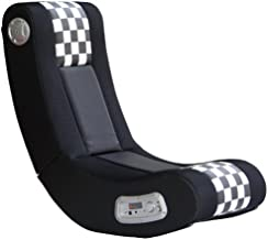 X Rocker Drift Wireless Black and White Checkered Flag 2.1 Wireless Foldable Rocking Video Gaming Floor Chair with 2 Speakers and Subwoofer - 5171101