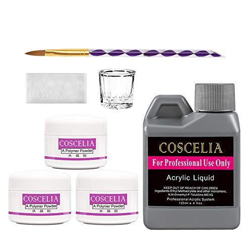 COSCELIA Acrylic Nail Starter Kit Acrylic Powder Kit Acrylic Liquid Set Acrylic Pen Brush Set Professional Kits