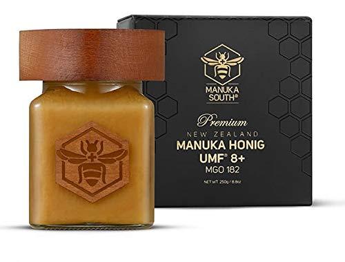 Manuka South Manuka Honig MGO 182+ (UMF 8+) zertifiziert aus Neuseeland - Premium Qualität im Glas, roh und nachhaltig (250g)
