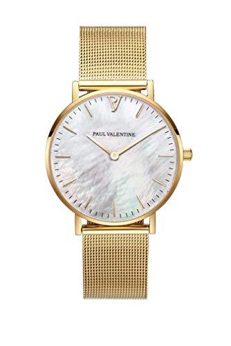 PAUL VALENTINE ® Damenuhr Gold Seashell Mesh-Armband mit echtem Perlmutt-Ziffernblatt und goldenen Initialien (38 mm)