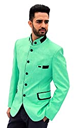 men in class Green Colour Solid Style Cotton Regular Fit Full Neck Party Wear Mens Blazer