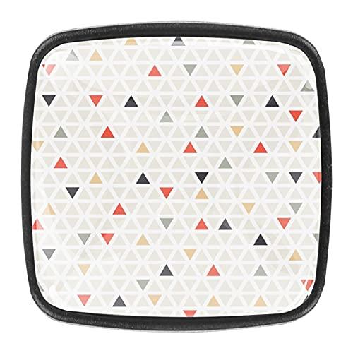 (4 piezas) pomos de cajón para cajones, tiradores de cristal, para gabinete, hogar, oficina, armario, moderno y colorido triángulo, 35 mm