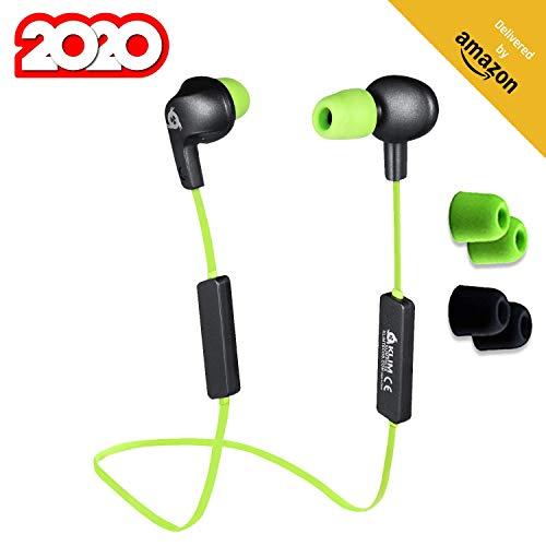 KLIM Pulse Bluetooth 4.1 In-Ear Kopfhörer [Version 2020] Kabellose Kopfhörer – Geräuschreduzierung – Perfekt für Sport, Musik, Anrufe, Gaming, etc. Magnetisch + Neue Memory Schaum Ohrstöpsel Grün
