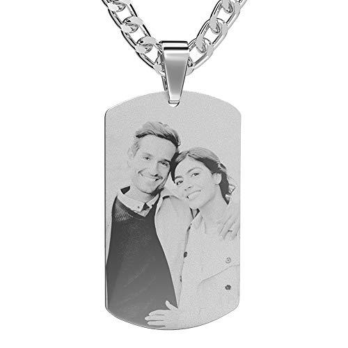 Soufeel Personalisierte Kette für Herren Foto Anhänger Halskette Edelstahl versilbert Party/Geburtstag Geschenk für Freud, Vater, Großvater