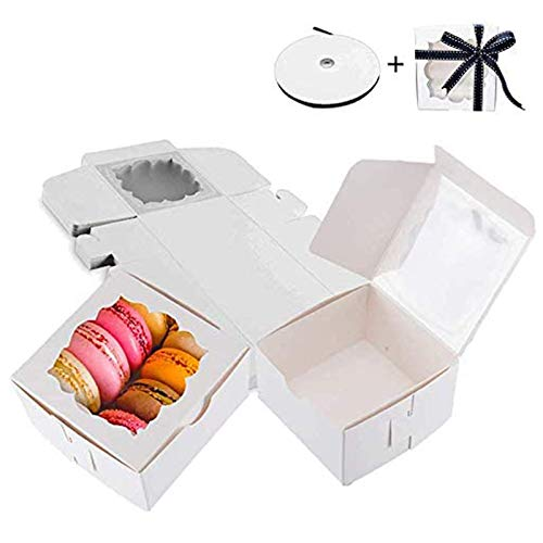 Thalia 60 Pack Bakery Boxes with Window Pastry Box Donut Boxes Cookie Boxes for Gift Giving 4x4x2.5 inches (white)