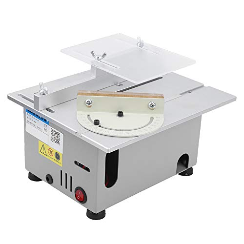 Silver Mini Table Saw, 240 x 200 x 130mm Lathe Electric Polisher Made of Carbide and Acrylic Plate and Aluminum Alloy
