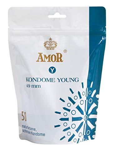 """AMOR\""""Young\"""" 50er Pack schlanke Premium Kondome, 49mm Durchmesser, gefühlsecht und extra feucht"""