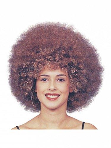 shoperama Beyonce - Peluca afro con rizos marrones para hombre y mujer, Rockstar años 70