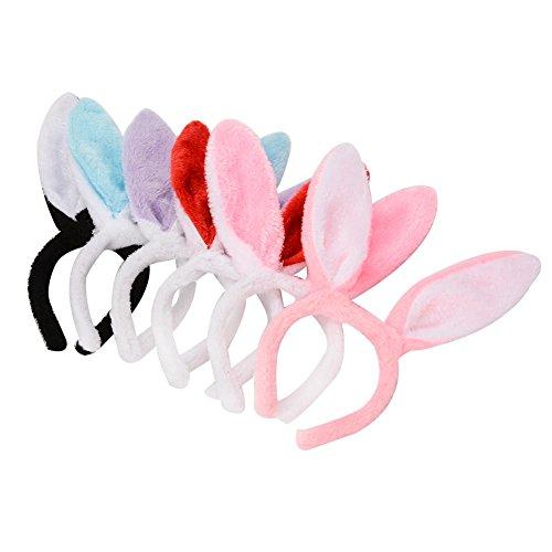 Twister.CK Fasce per Orecchie di Coniglio di Pasqua, Accessori per Costumi di Coniglietti per Pasqua, Orecchie di Peluche Pieghevoli Orecchie da favo bomboniere, Confezione da 6