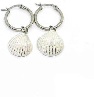 Orecchini pendenti con cerchio in acciaio e conchiglia bianca e argento
