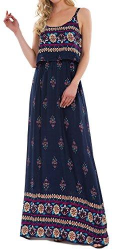 Kormei Damen Sommerkleid Ärmellos Boho A-Line Lang Kleid Maxikleid Party Strandkleid Blau M