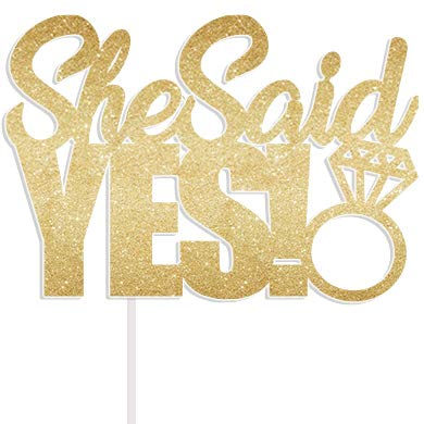 Cotone Candy Parti She Said Yes Gold Glitter Cake Topper Wedding Engagement Party Bridal Shower Topper per Cupcake