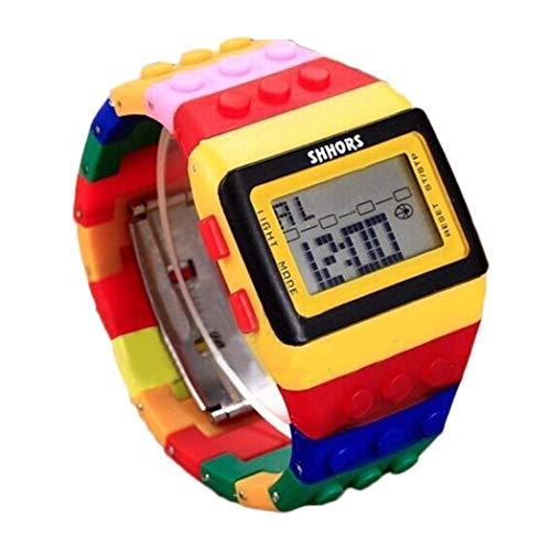 U-K Reloj de Pulsera de Arco Iris Colorido de Moda Digital con Correa Unisex para Mujeres Hombres niñosProcesamiento Atractivo