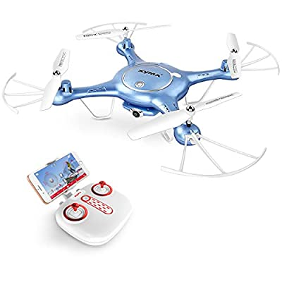 Drone with HD Camera SYMA X5UW 720P FPV Real-time Wifi Gravity Control RC RTF Quadcopter with Flight Plan Route App Control & Altitude Hold Function(Blue)