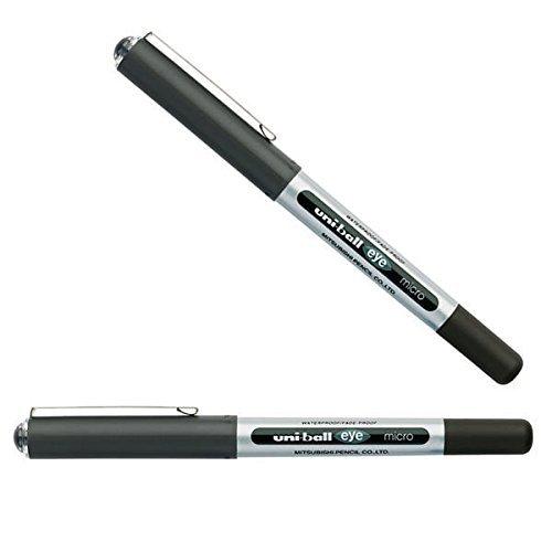 Uni-ball Eye Micro UB150 Rollerball - Penna a sfera con inchiostro nero, confezione da 2, colore: Nero
