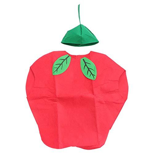 SOIMISS Disfraz de Frutas Y Verduras para Nios Ropa de Fiesta de Cosplay para Nios Traje de Sanda Fresa Y Manzana para Nias Nios (Manzana)
