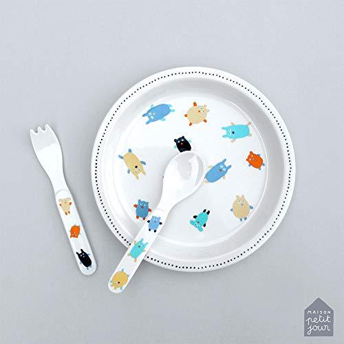 Petit Jour Paris - Coffret Vaisselle d'Apprentissage Les Doudous - pour Apprendre à Manger Comme Un Grand