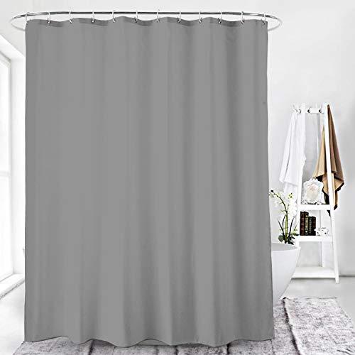 Duschvorhang Textil Badewannenvorhang 120/180 / 240 x 200 cm inkl Ringe (240x200cm, Grau)