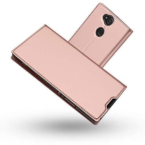 Radoo Sony Xperia XA2 Plus Hülle, Premium PU Leder Handyhülle Brieftasche-stil Magnetisch Folio Flip Klapphülle Etui Brieftasche Hülle Schutzhülle Tasche Case Cover für Sony Xperia XA2 Plus (Roségold)