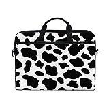Mnsruu - Funda para portátil de 15', diseño de piel de vaca, color negro y blanco