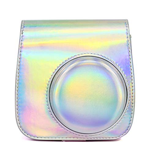 Kamera-Taschen Hülle für Fujifilm Instax Mini 9 8 8+ Instant Film Camera Sofortbildkamera, Kunstleder und Antisamttuch Compact Schutztasche Kompaktkamera-Taschen mit Schultergurt & Tasche (Silber)