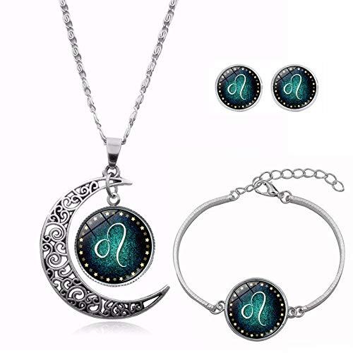 La Mode metalen oorbellen halsketting armband dames samen met sieraden van glas maandraad rond zilver sterrenbeeld tijd edelsteen eenvoudig klassiek creatief leuk geschenk Leeuw