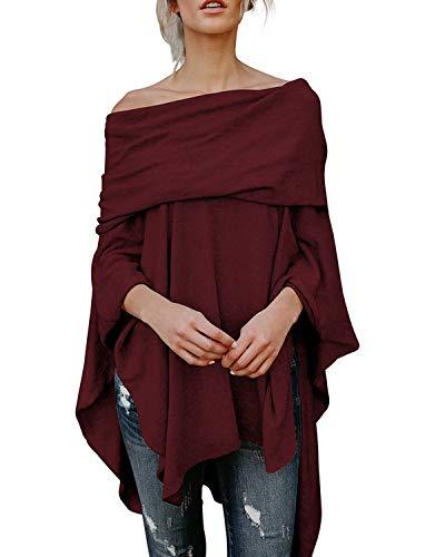 kenoce - Blusa de manga larga con hombros descubiertos para mujer rojo vino. M