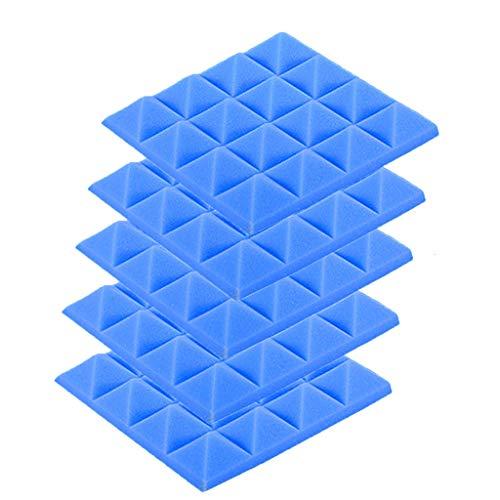 5PCS Akustikelemente Noppenschaumstoff Akustikschaumstoff Schwamm Breitbandabsorber Pyramide Isolierung Akustik Wand Schaumstoff Polsterung Studio Schaumstoff 25x25x5cm (Blau)