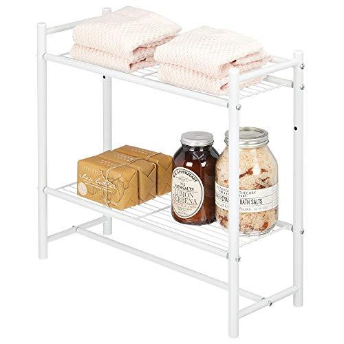 mDesign Armadietto Aperto con Due Ripiani – Mobile da Bagno e da Cucina in Metallo – Armadio Multiuso Adatto Come Organizer per Asciugamani, detersivi, Scarpe, vasi – Bianco