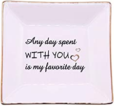 LEBOO Gifts for Women Sister Friends Bestie Gifts for Her Birthday Friendship Gifts Graduation Gifts, Ceramic Ring Dish - Any Day Spent with You is my Favorite Day