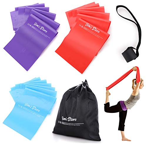 Jim's Stores Bandas de Resistencia Fitness Cintas Elásticas de Resistencia Set de 3 Bandas para Yoga, Crossfit, Entrenamiento de Fuerza y Pilates(1.5M)