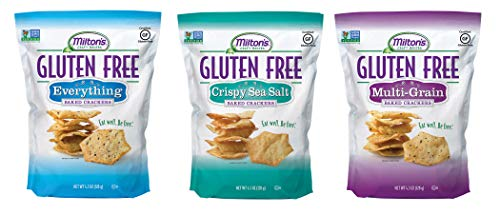 Milton's Gluten Free Baked Crackers, 3 Flavor Variety Bundle. Crispy & Gluten-Free Baked Grain Crackers (Crispy Sea Salt, Multi-Grain, and Everything 4.5 oz).