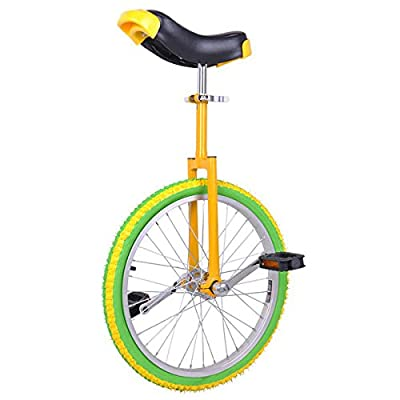 """20"""" in Colorized Wheel Uni-Cycle Skidproof Unicycle w Stand Cycling Yellow Green"""
