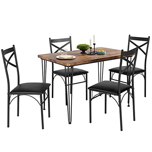 VECELO 5-Piece Dining Table Set for  Home Kitchen  Breakfast Nook, Black